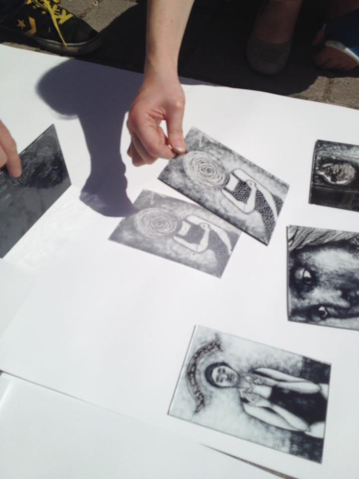 contour en grijze grisaille, studenten van de glas afdeling van de rietveld academie tijdens de brandschildercursus gegeven door sodis vita