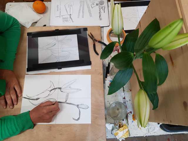 bloemen tekenen tijdens de tekenen met de rechter hersenhelft cursus