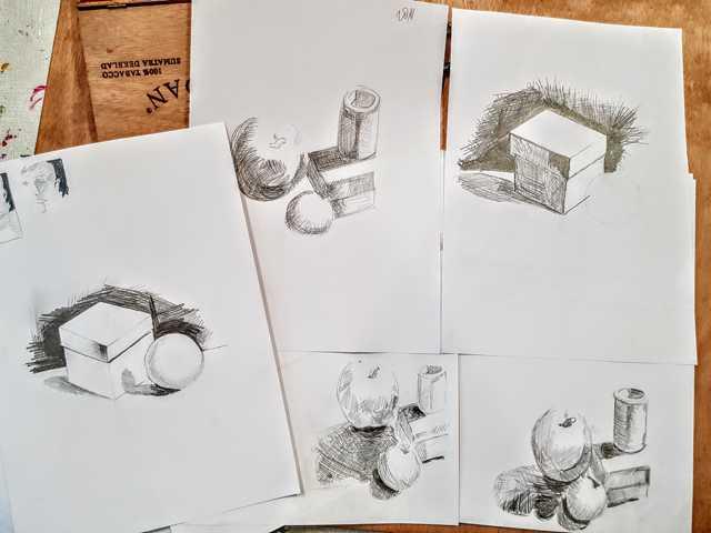 leren arceren tijdens de cursus tekenen met de rechterhersenhelft