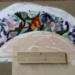 prachtig tiffany werk in de maak tijdens de cursus tiffany 2 en 3-D voor een grafsteen