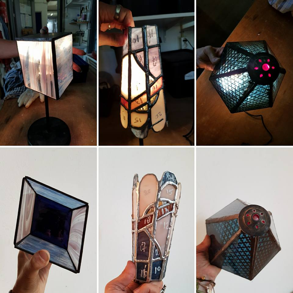 diverse door cursisten ontworpen lampen tijdens de tiffany 2 en 3 D cursus