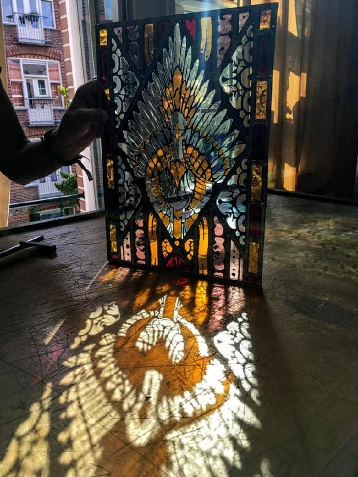 gebrandschilderd glas in lood raam, gemaakt tijdens de brandschildercursus