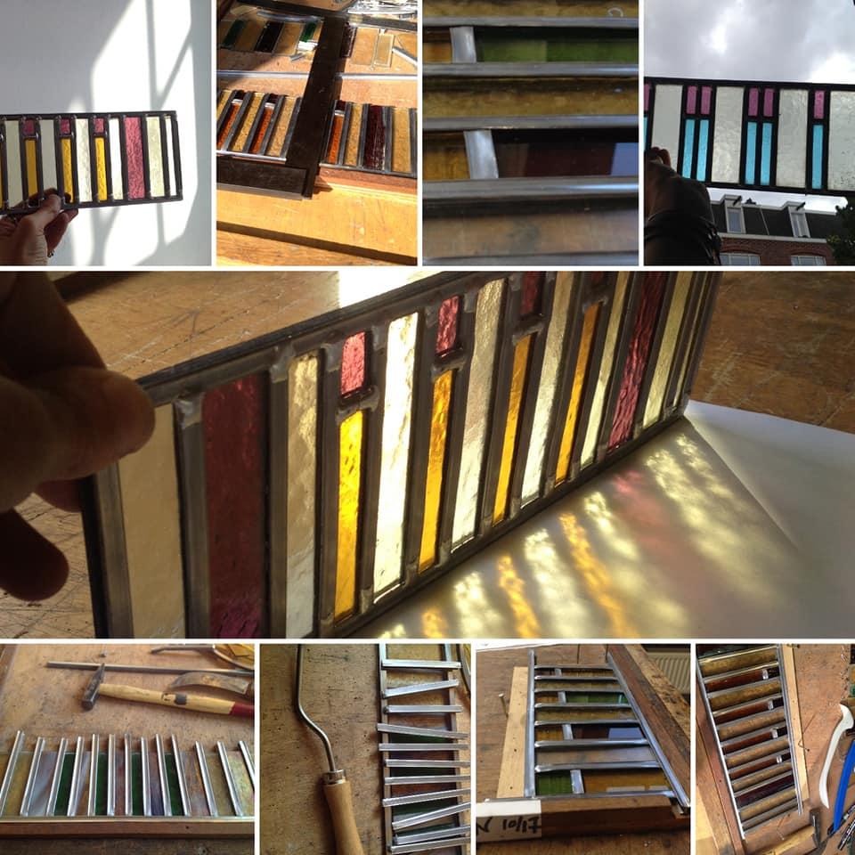 piano raampje ontworpen voor de zaterdagse cursus glas in lood door sodis vita op de openbare werkplaats