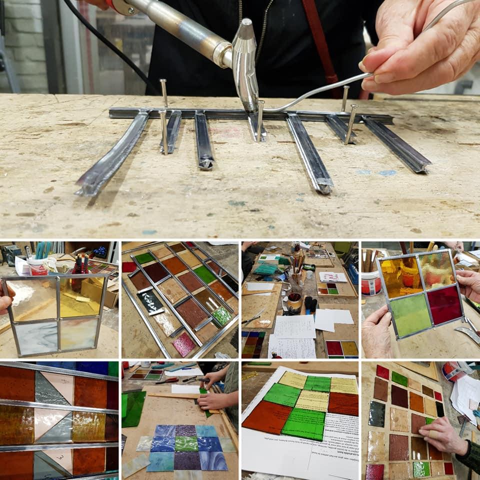 oefenen met solderen, glas in lood cursus