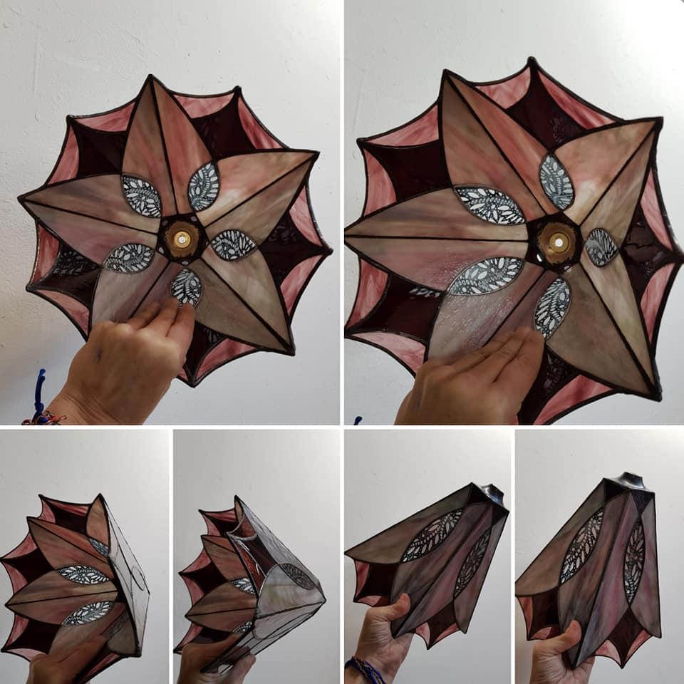 ontwerp van cursiste tiffany 2 en 3 D met gebrandschilderde stukken glas