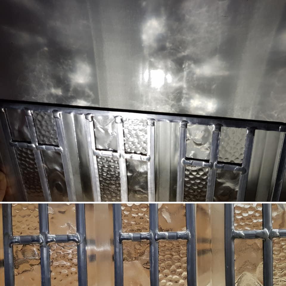 veel soldeer punten tijdens het maken van het raampje op de zaterdag cursus glas in lood