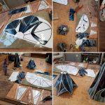 aan het werk tijdens de tiffany 2 en 3 D cursus blauw grijs glas