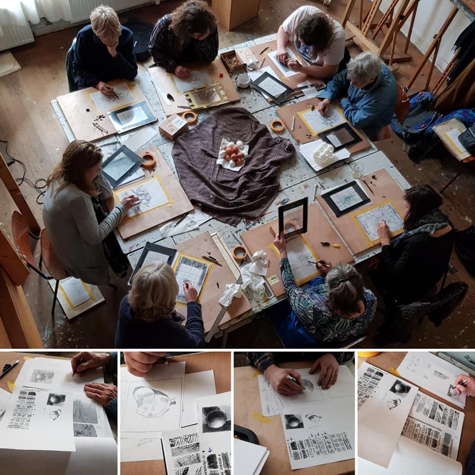 christen aan het werk schaduw licht les tekenen met de rechterhersenhelft cursus op de buurtwerkplaatsen docente sodis vita
