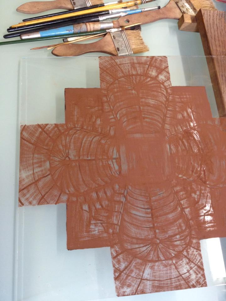 abstract brandschilder werk grisaille laag voor het inbranden gemaakt op de cursus brandschilderen