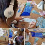 patroon tekenen op glas tijdens de tiffany 2 en 3 D glas cursus