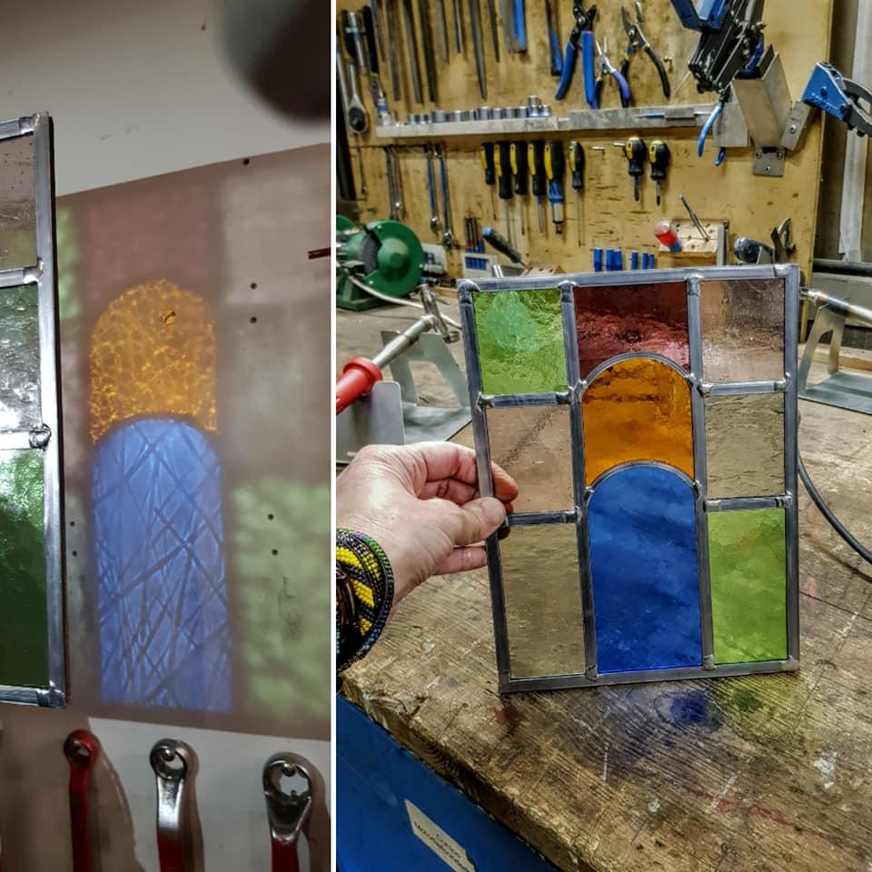 laatste raampje gemaakt tijdens de cursus glas in lood