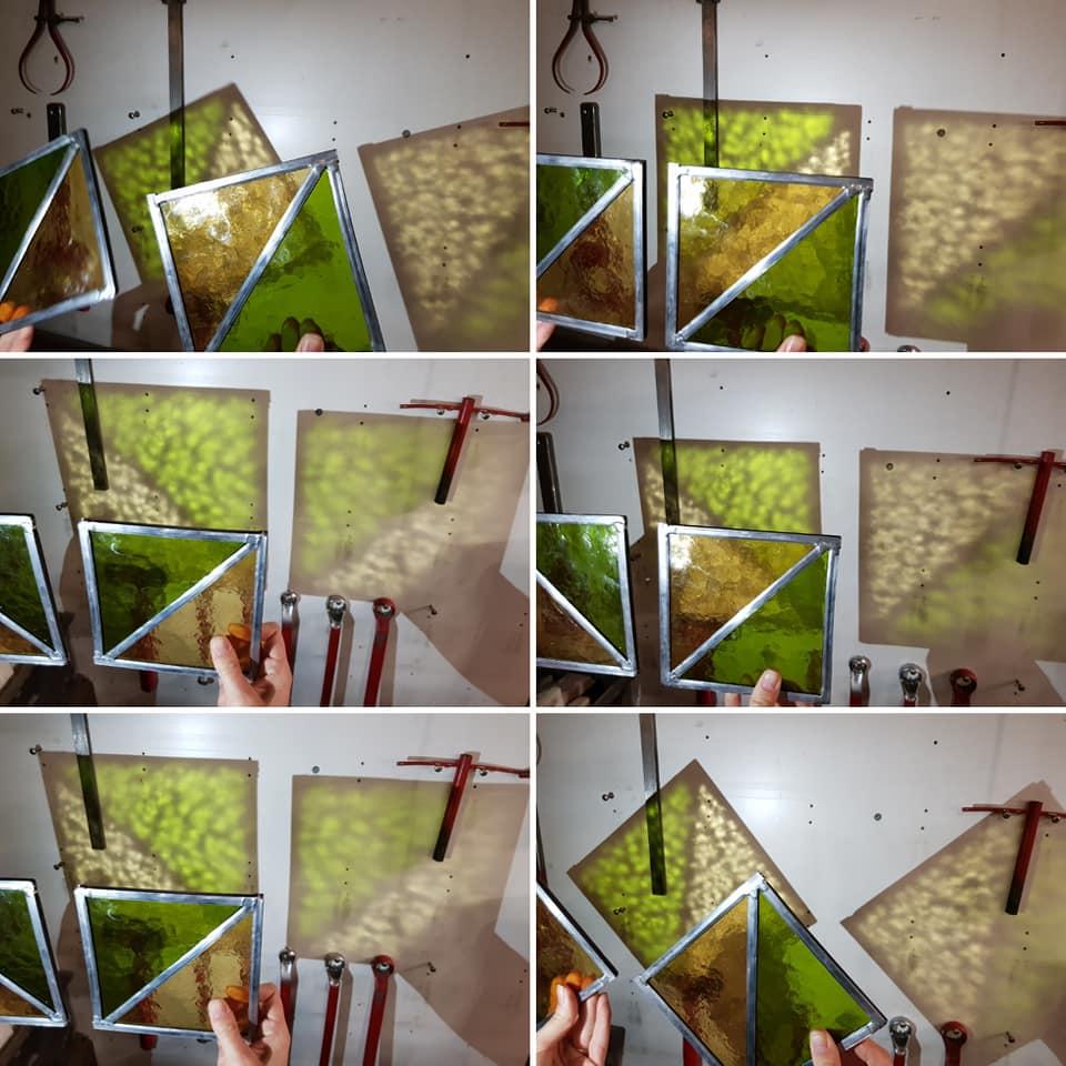 oefenraampjes maken tijdens de glas in lood cursus