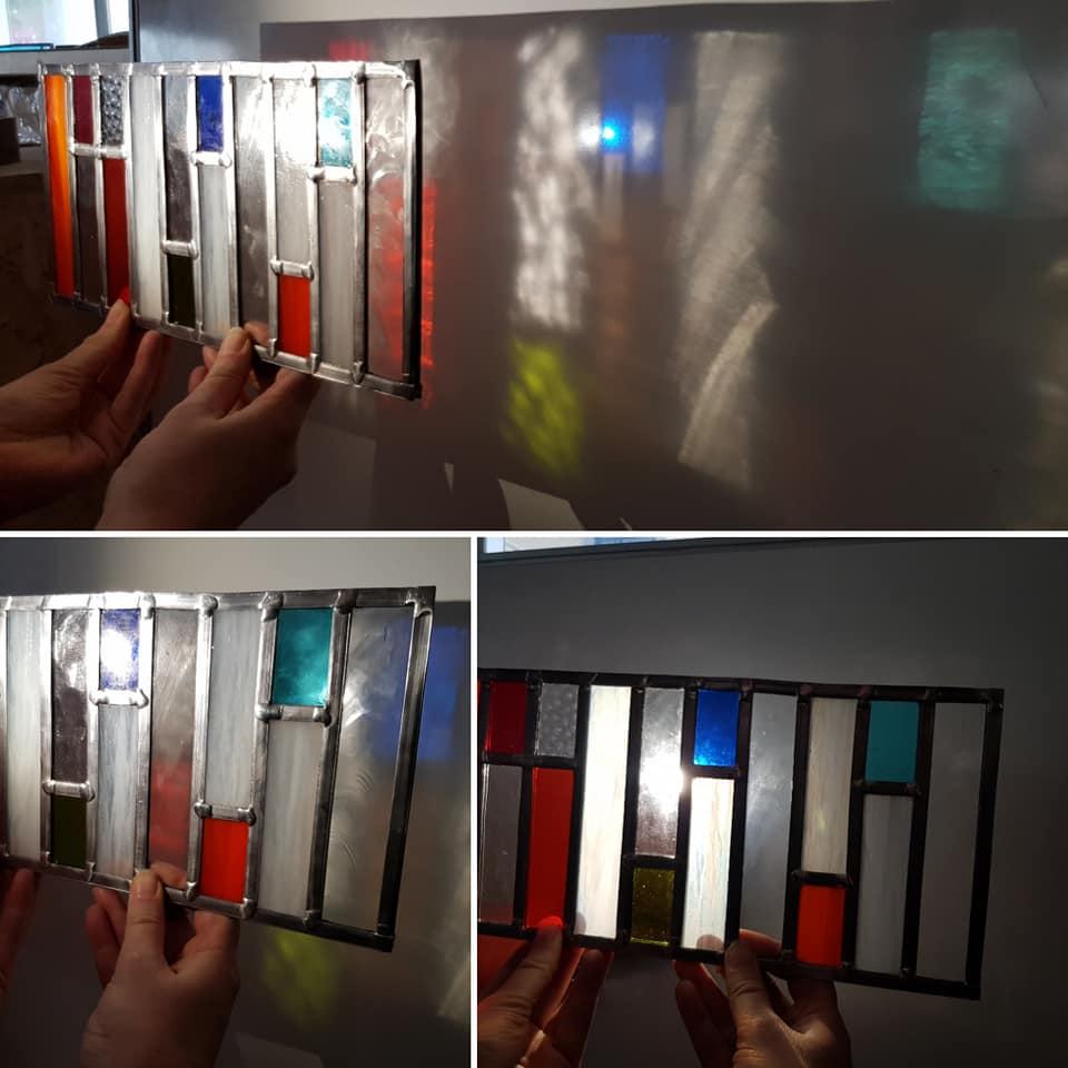 werk gemaakt tijdens de zaterdagse ambacht cursus glas in lood