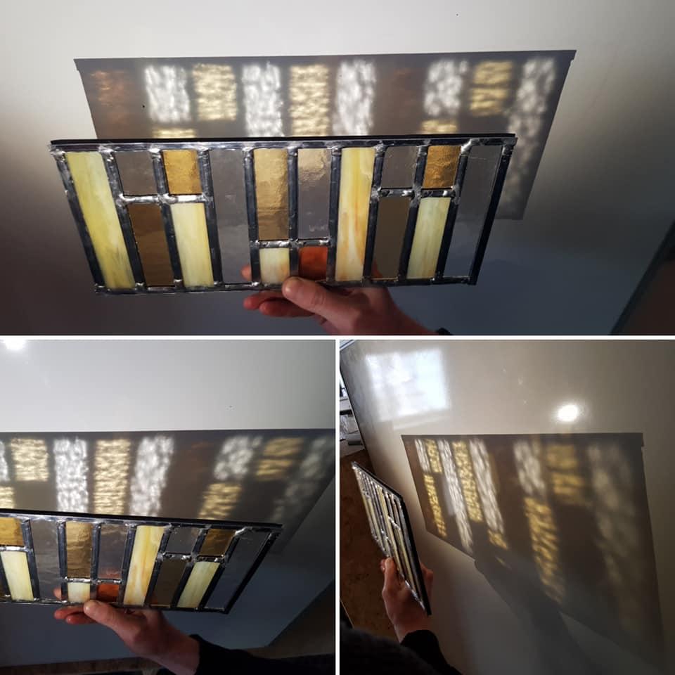 pianoraampje gemaakt tijdens de glas in lood cursus in geel