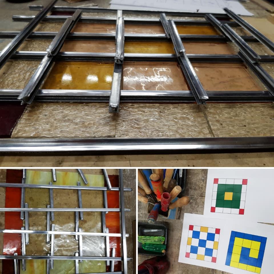 kleur en glas keuzes tijdens de glas in lood cursus gegeven door sodis vita