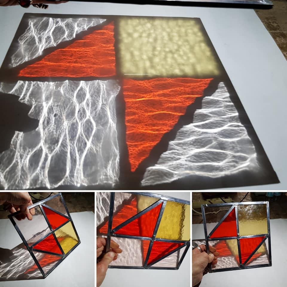 oefen raampje glas in lood ambacht cursus met diagonale ruitjes