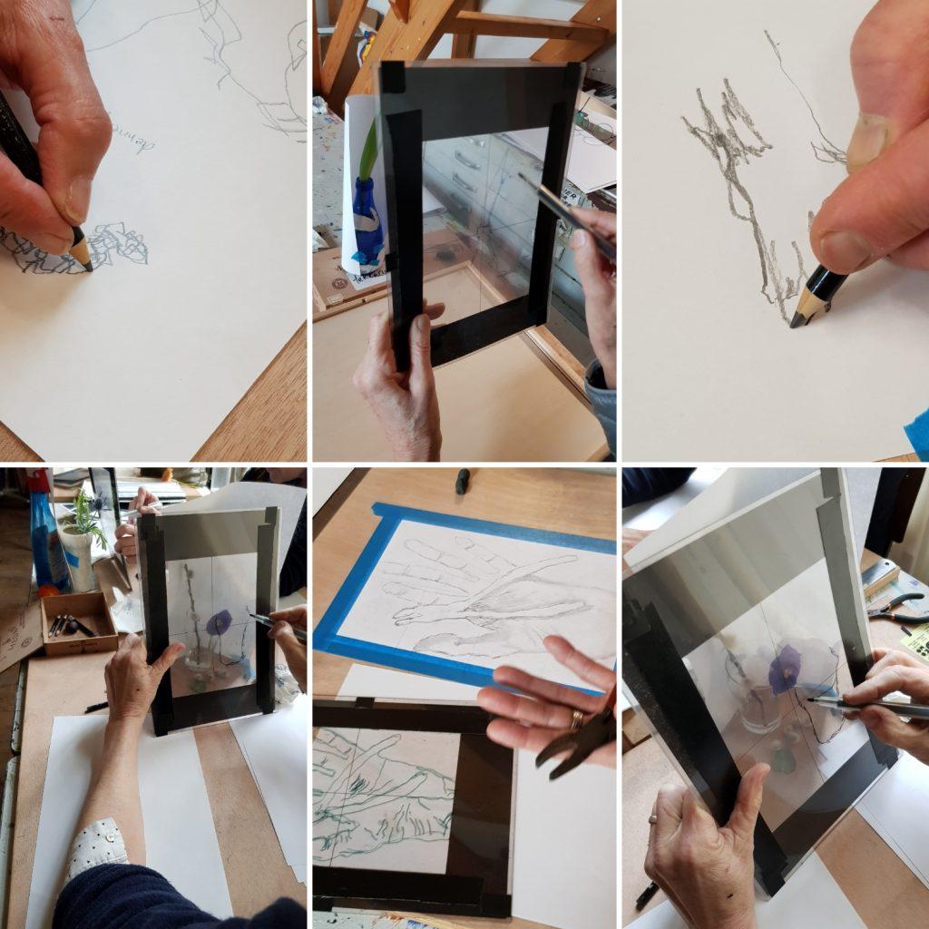 het gebruik van een frame tijdens de tekenlessen tekenen met de rechterhersenhelft