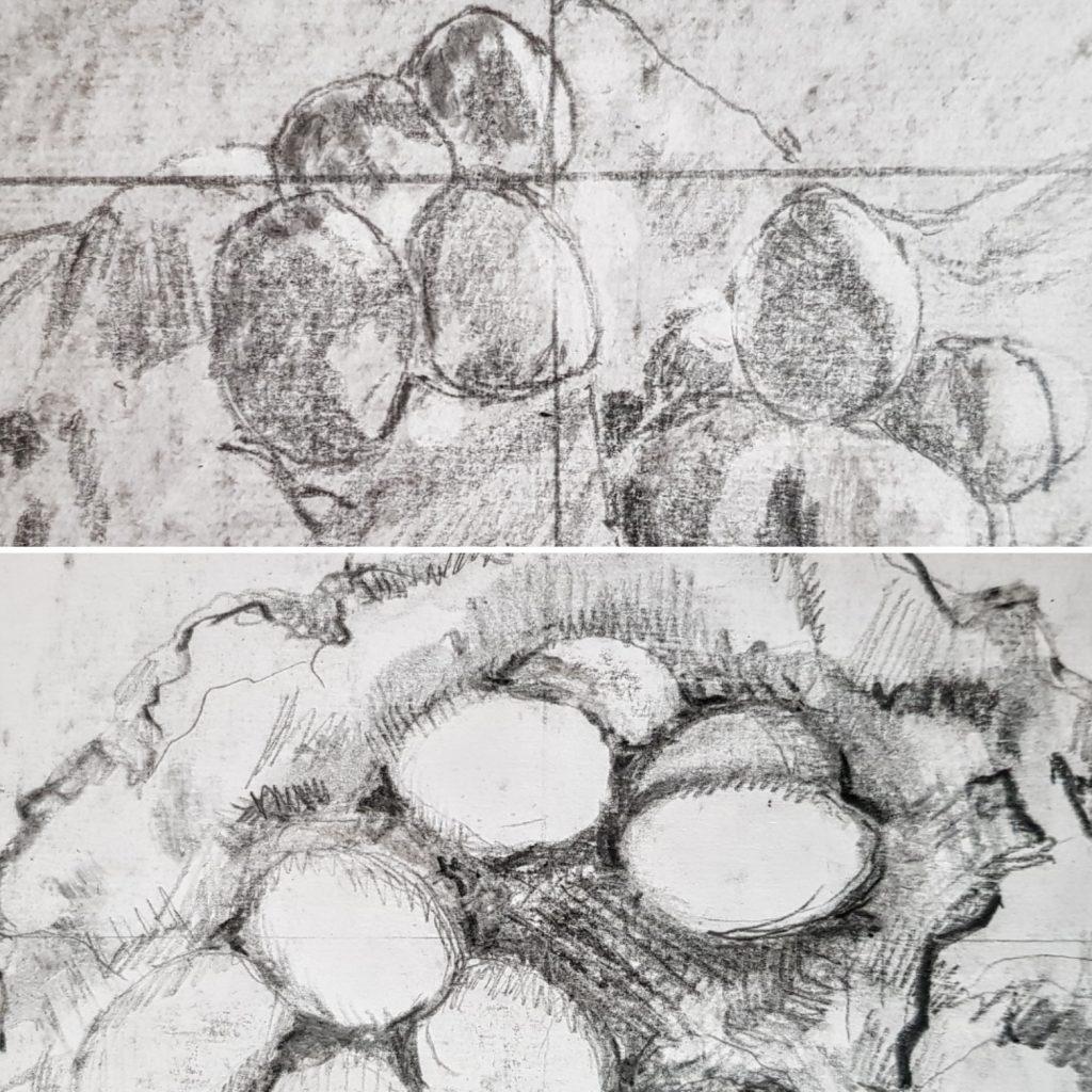 tekeningen gemaakt tijdens de cursus tekenen met de rechterhersenhelft