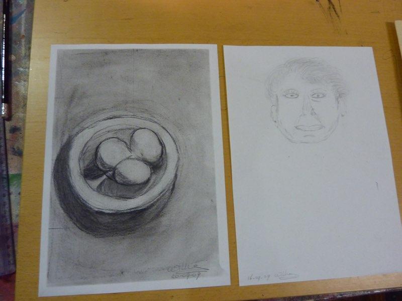 tekenen met de rechterhersenhelft voor de cursus en laatste tekening van een cursist