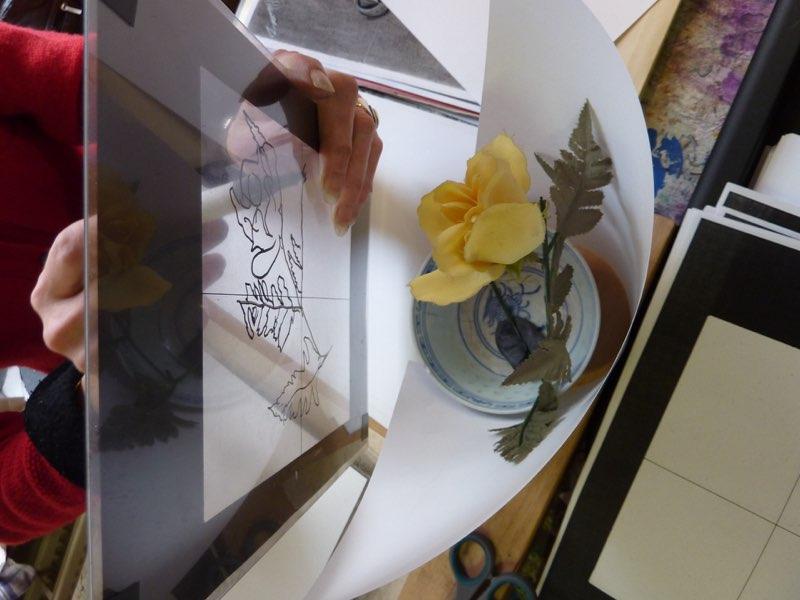 werken met een frame tijdens de teken cursus tekenen met de rechterhersenhelft