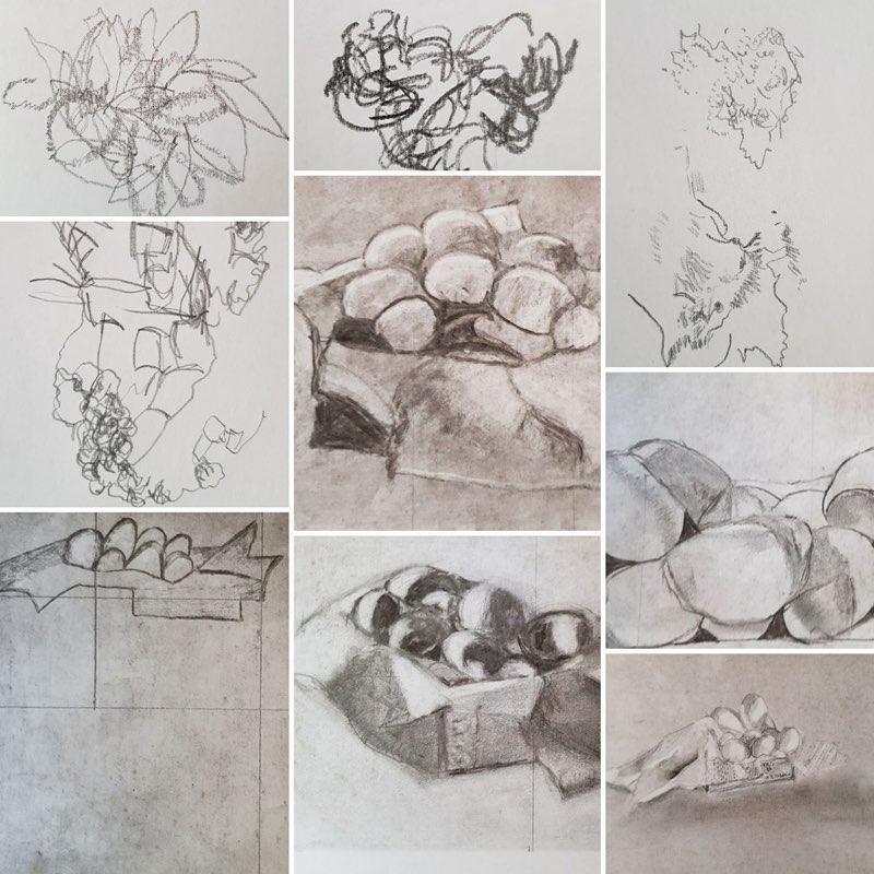 werk van diverse cursisten tijdens de cursus tekenen met de rechterhersenhelft gegeven door sodis vita