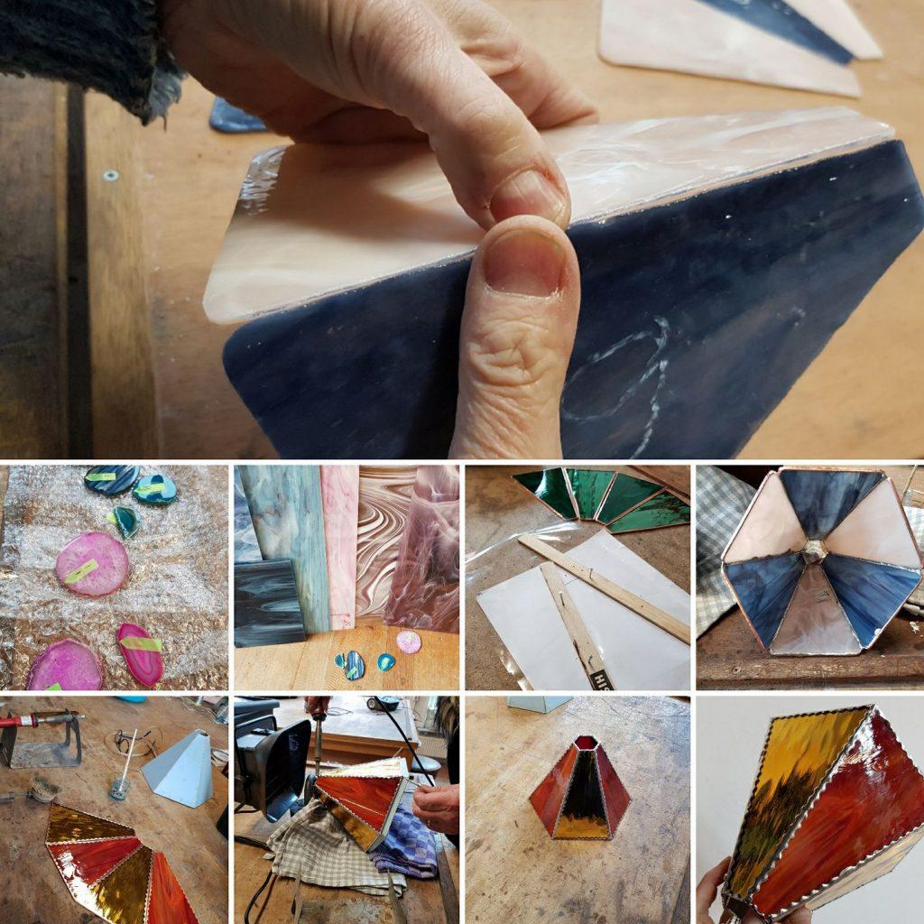 diverse fases werk gemaakt tijden de Tiffany 2 en 3 -D cursus